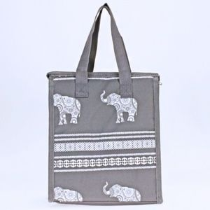 scarlettsbags Bags - Boho Elephant Insulated Lunch Bag Tote Box Gray